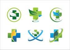 Symbolsatz-Vektordesign des medizinischen pharmazeutischen Gesundheitslogo Wellnessleutegrünblattes gesundes Stockfotografie