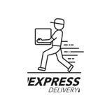 Symbolsbegrepp för uttrycklig leverans Service för leveransman, beställning, worl Royaltyfria Foton