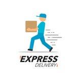 Symbolsbegrepp för uttrycklig leverans Service för leveransman, beställning, worl Arkivbilder