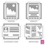 Symbolsbroschyr stock illustrationer