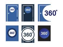Symbolsdörrar 360 grader vektor illustrationer