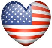 Symbolsdesign för flagga av Amerika i hjärtaform Royaltyfri Bild