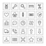 Symbolse-kommers Lägenheten anmärker och att shoppa symboler, beståndsdelar för marknadsföring stock illustrationer