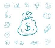 Symbolsfinansuppsättning - pengarpåse Affärssymboler med den biggy banken, räknemaskin, diagram Utbytesdollar och euro royaltyfri illustrationer