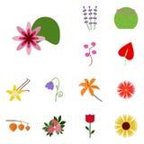 Symbolsfloret Fastställd floret för symbol Nenuphar symbol stock illustrationer