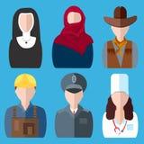 Symbolsfolksjuksköterska, nunna, polisen, cowboy, byggmästare Arkivfoton