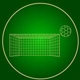 Symbolsfotbollportar och cirkel för neon för fotbollboll Arkivbild