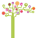 Symbolsfrukter och grönsaker gör sammandrag trädet Arkivbild