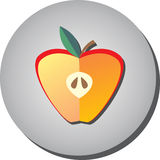 Symbolshalva av det mogna saftiga röda äpplet i stillägenhet på en grå backgr Royaltyfri Foto