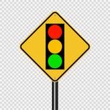 Symbolsignaltrafikljus - grönt gult rött tecken på genomskinlig bakgrund vektor illustrationer