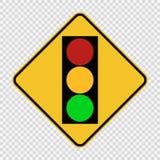Symbolsignaltrafikljus - grönt gult rött tecken på genomskinlig bakgrund stock illustrationer