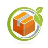 Symbolsillustrationer med begreppet av miljövänliga förpackande lösningar vektor illustrationer