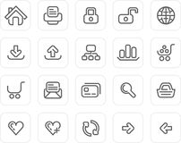 symbolsinternet plain set website stock illustrationer