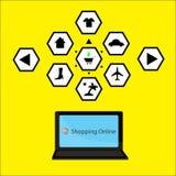 Symbolsinternetshopping Vektor Illustrationer