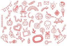 Symbolsklotter för universell uppsättning räcker utdraget av förälskelse och gyckel, illustration Arkivbilder