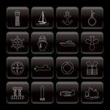 symbolslinje marin- seglinghav vektor illustrationer
