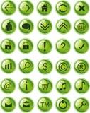 symbolslite för knappar grön rengöringsduk Fotografering för Bildbyråer
