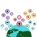 Symbolslogo och infographic anslutning för symbol av social gemenskap royaltyfri illustrationer