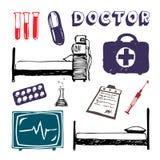 symbolsmedicinset Vektor Illustrationer