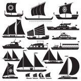 Symbolsmotor- och seglingyachter för lopp och fiske vektor illustrationer