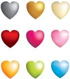 symbolsset för hjärtor 3d 9 Royaltyfria Bilder