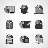 Symbolsuppsättning - affär, IT, massmedia, vardagsliv Arkivfoton