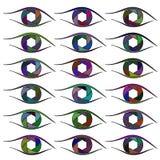 Symbolsuppsättning av ögon raster Arkivbilder