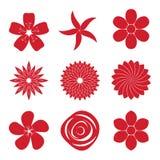 Symbolsuppsättning av blomman Royaltyfri Foto