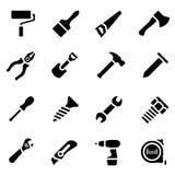 Symbolsuppsättning av den svarta enkla konturn av arbetshjälpmedel i plan design Royaltyfri Illustrationer