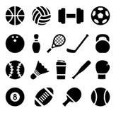 Symbolsuppsättning av den svarta enkla konturn av sportutrustning i plan design Royaltyfria Bilder