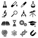 Symbolsuppsättning av den svarta enkla konturn av vetenskapliga hjälpmedel i plan design Royaltyfri Illustrationer