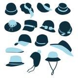 Symbolsuppsättning av den svarta Kontur-illustrationen för hattar Arkivbild
