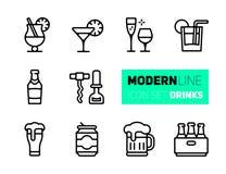 Symbolsuppsättning av drycker och exponeringsglas royaltyfri illustrationer