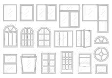 Symbolsuppsättning av fönstertyper Royaltyfri Foto