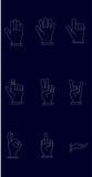 Symbolsuppsättning av händer med vita linjer och mörker - blå bakgrund Royaltyfri Bild