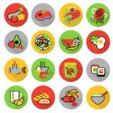 Symbolsuppsättning av hemlagade mat- och restaurangmål stock illustrationer