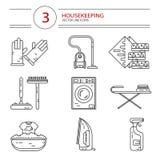 Symbolsuppsättning av hushållningarbetshjälpmedel Royaltyfri Bild