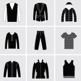 Symbolsuppsättning av kläder för modebeståndsdelmän Arkivfoto