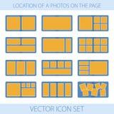 Symbolsuppsättning av läge foto i photobook Vektor Illustrationer