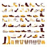 Symbolsuppsättning av män och av kvinnors skor stock illustrationer