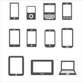 Symbolsuppsättning av mobilen, minnestavlaapparat för kommunikation vektor illustrationer