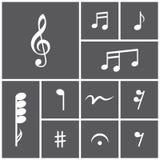 Symbolsuppsättning av musikaliska anmärkningar Royaltyfri Illustrationer