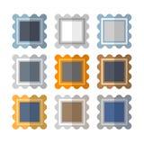 Symbolsuppsättning av nio färgrika ramar stock illustrationer