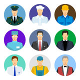 Symbolsuppsättning av olika arbetsyrken Arkivbild