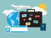 Symbolsuppsättning av resande, objekt av turism och lopp i den plana designen Arkivfoto