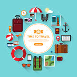 Symbolsuppsättning av resanden, turism, semesterplanläggning Royaltyfri Bild