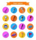 Symbolsuppsättning av skugga för frisörbeståndsdelwhith Plan stil Royaltyfri Foto