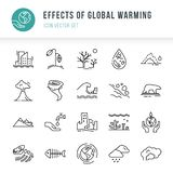 Symbolsuppsättning av 20 stycken av vektorsymboler som isoleras på en vit bakgrund i en linjär stil royaltyfri illustrationer