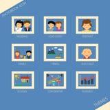 Symbolsuppsättning av themeaphotobook Stock Illustrationer