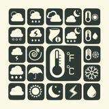 Symbolsuppsättning av väder Royaltyfria Bilder